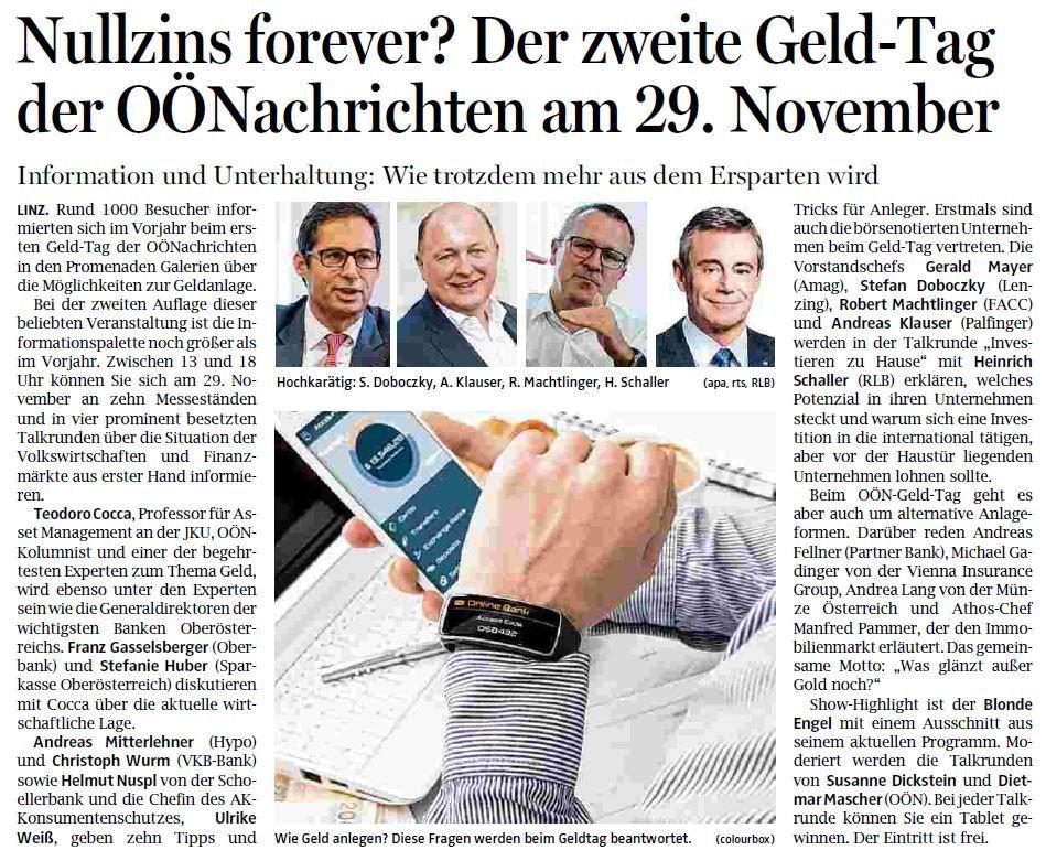 Bericht OÖN-Geldtag