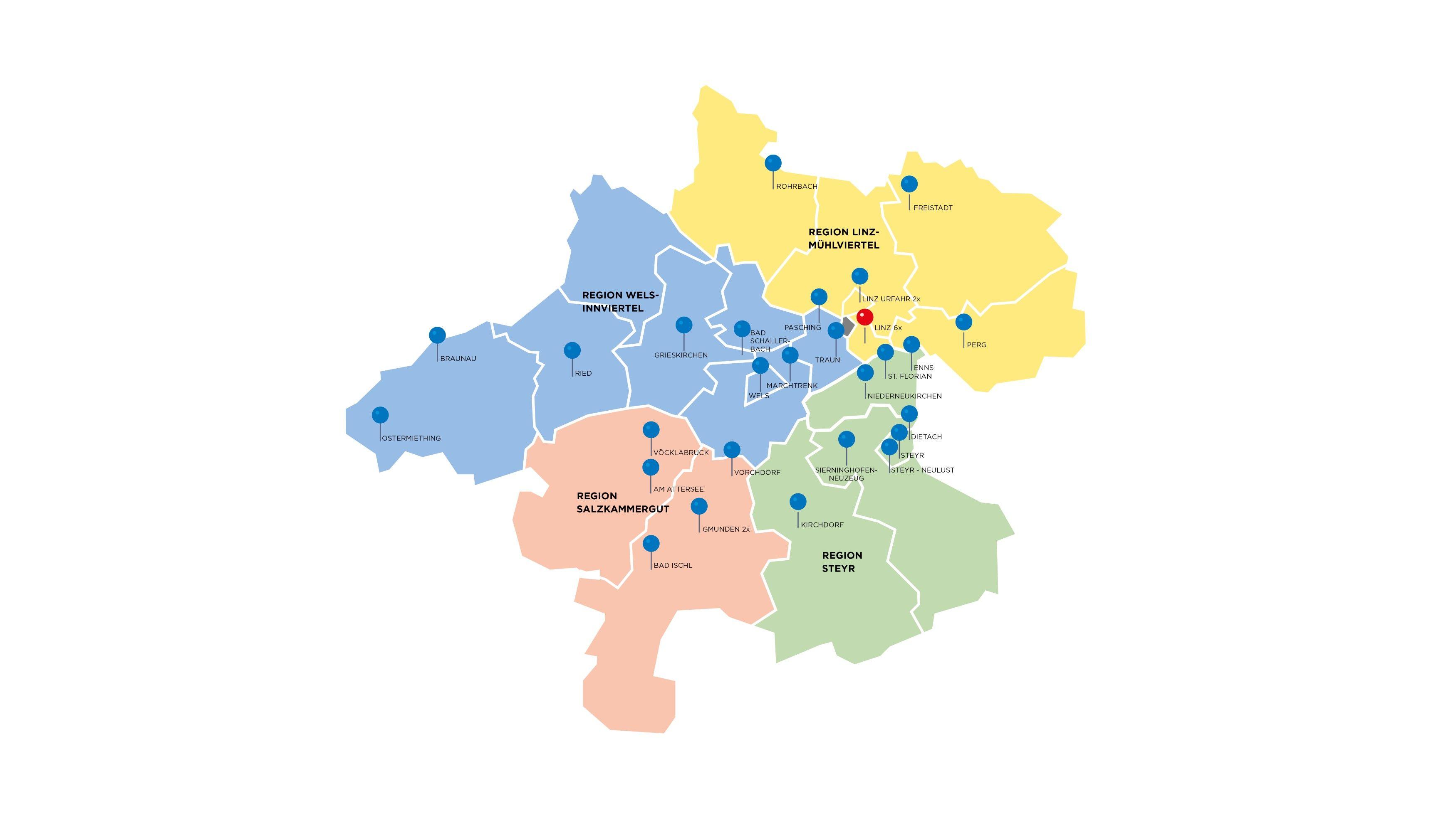 Regionen Oberösterreichs