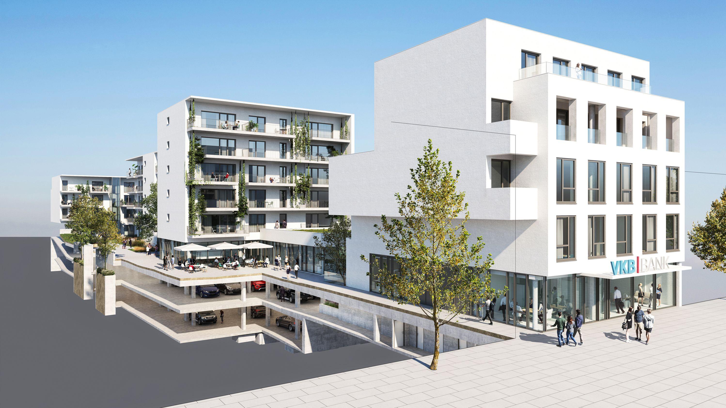 VKB Wels, Kaiser-Josef-Platz. Nachhaltiges Wohnen und Arbeiten.